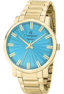 93838ba642e Zattini. Relógio Azul Dourado Feminino Unissex Champion Inox Vidro ...