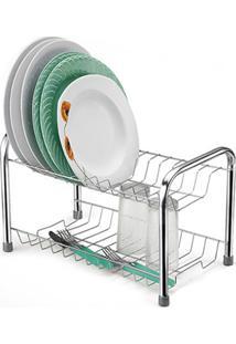 Escorredor De Louças Compacto Cromo Eco Com Porta Copos Art House