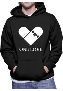 Moletom Criativa Urbana Skate One Love - Masculino-Preto
