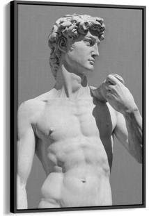 Quadro 90X60Cm Estátua David Michelangelo Canvas Moldura Flutuante Preta