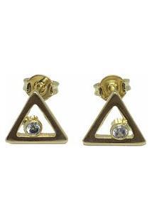 Brinco Triângulo Semijoia Banho De Ouro 18K Ponto De Luz Com Zircônia