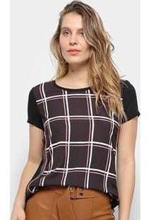 Camiseta Acostamento T-Shirt Casual Mc Sb Feminina - Feminino-Preto
