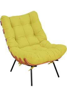 Poltrona Decorativa Sala De Estar Costela Suede Amarelo - Lyam Decor - Amarelo - Dafiti