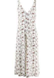 Ganni Floral Crêpe Sleeveless Midi Dress - Neutro