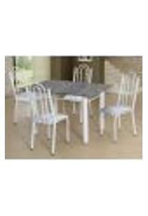 Conjunto De Mesa Luiza Com 4 Cadeiras Branca Linho