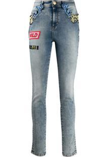 Versace Jeans Couture Calça Jeans Skinny Com Detalhe Barroco - Azul