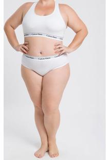 Calcinha Plus Size Tanga Clássica Branca Underwear Calvin Klein - 2Xl