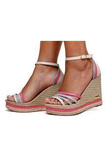 Sandália Anabela Plataforma Cores Moda Sb Shoes Ref.3268 Off/Pink