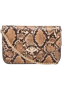Bolsa Tiracolo Stz Pequena Textura Snake Bege -