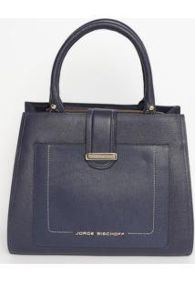 Bolsa Quadrada Em Couro - Azul Marinho - 25X31X13Cmjorge Bischoff