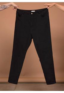 Calça Jeans Skinny Comfort Cintura Alta Plus Size Preto - Kanui