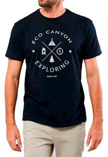 Camiseta Masculina Eco Canyon Exploring Preto