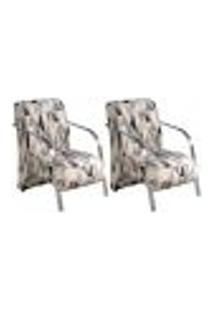 Conjunto De 2 Poltronas Sevilha Decorativa Braço De Alumínio Cadeira Para Recepção, Sala Estar Tv Espera, Escritório, Vários Ambientes - Poliéster Estampado 290