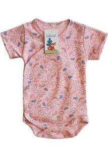 Body Kimono Babié Manga Curta Feminino - Feminino-Rosa