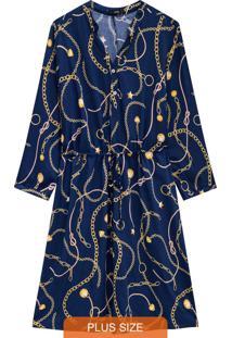 Vestido Azul Evasê Estampado