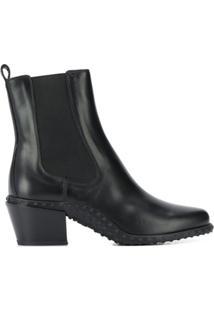 Tod'S Ankle Boot Com Textura No Solado - Preto