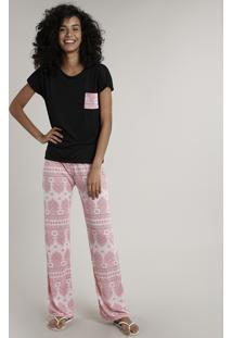 Pijama Feminino Com Bolso Estampado Paisley Manga Curta Preto