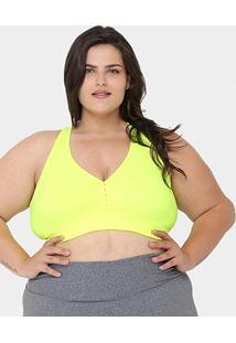 Top Gonew Plus Size Média Sustentação - Feminino-Verde Limão