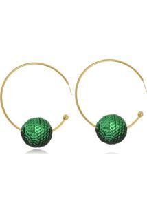 Brinco Argola Le Diamond Bola De Paetê Verde