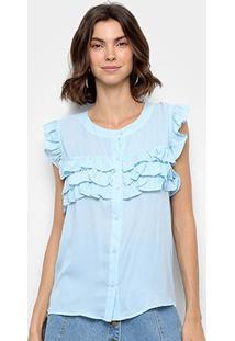 Blusa Ms Fashion Regata Babados Feminina - Feminino-Azul