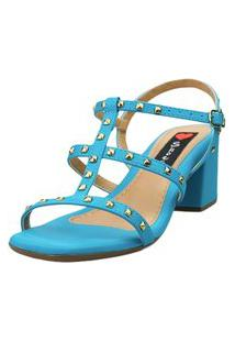 Sandália Salto Bloco Love Shoes Baixo Valentin Tiras Spike Azul