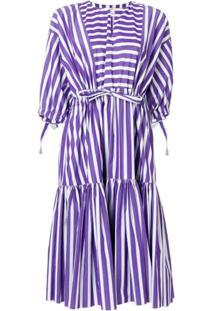 Maison Rabih Kayrouz Striped Flared Dress - Roxo