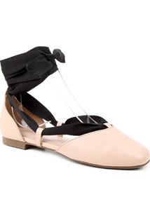 Sapatilha Couro Shoestock Lace Up Feminina - Feminino-Nude