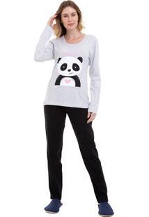 Pijama De Inverno Panda Feminino Manga Longa Luna Cuore