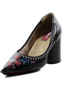 Sapato Couro J. Gean Vintage Retrô Pespontos Preto