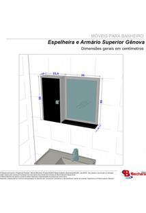 Espelheira Para Banheiro 1 Porta 2 Prateleiras Gênova Móveis Bechara Madeira Rústica/3D