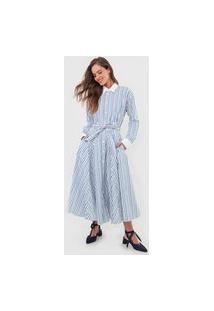 Vestido Chemise Polo Ralph Lauren Midi Listrado Branco/Azul