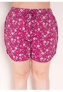 Short Floral Pink Boxer Plus Size