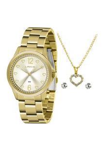 Kit Relógio Feminino Lince Analógico Lrgj122L Ky85C2Kx + Brinco + Colar Dourado