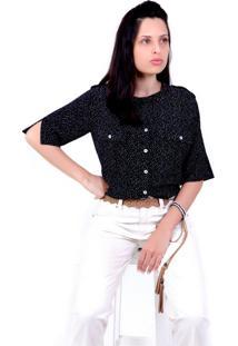 Camisa Poah Ágata Petite Vickttoria Vick Plus Size Preto