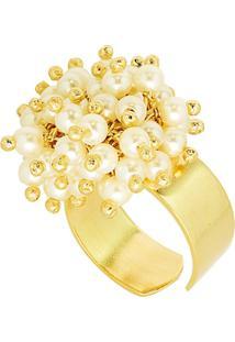 Anel Banho De Ouro Microesferas Perola - Feminino-Off White