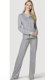 Pijama Longo Feminino Com Botões