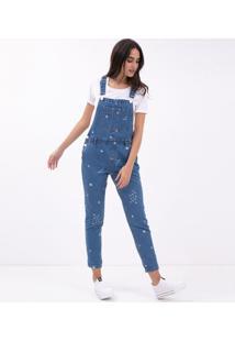 6e088776f6 ... Macacão Jeans Longo Com Estampa Constelação