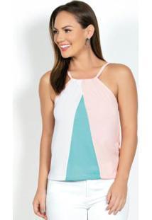 Blusa De Alça Tricolor Com Decote Ajustável