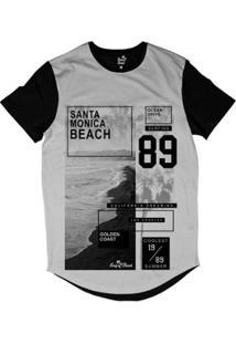 Camiseta Longline Long Beach Litoral Dourado Sublimada Masculina - Masculino-Preto