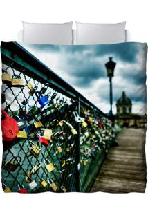Edredom Colours Creative Photo Decor - Cadeados Na Ponte Do Rio Sena Em Paris Azul