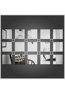 Espelho Decorativo Em Acrílico 23 Quadrados Para Sala