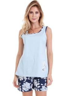 Pijama Short Doll Regata Azul Floral Feminino Luna Cuore
