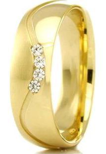 Aliança De Casamento Feminina Em Ouro 18K 750 Wm Joias 5,5Mm Com Zircônia F2306 - Feminino-Dourado