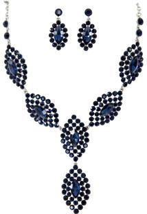 Conjunto Brinco E Colar Liage Pedras Strass E Metal Prata E Azul Escuro / Marinho