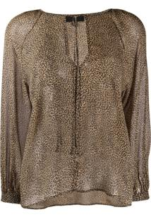 Nili Lotan Micro-Leopard Print Silk Blouse - Neutro