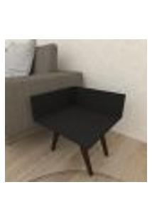 Mesa Lateral Simples Em Mdf Preto Com 4 Pés Inclinados Em Madeira Maciça Cor Tabaco