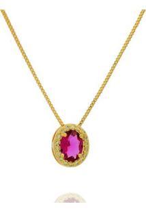 Colar Dona Diva Semi Jóia Princesa Oval Feminino - Feminino-Dourado+Vermelho