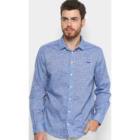 Camisa Slim Xadrez Colcci Manga Longa Masculina - Masculino-Azul 8534bd54ef735