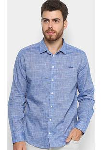 Camisa Slim Xadrez Colcci Manga Longa Masculina - Masculino-Azul
