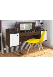 Penteadeira Albatroz Camarim Atração Com Espelho Cedro/Branco E Cadeira Charles Amarela
